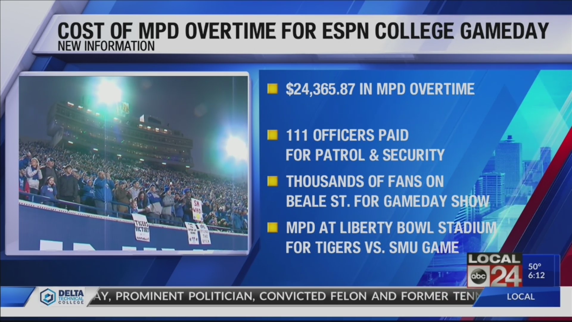 "Thumbnail for the video titled ""MPD overtime for ESPN College GameDay was $24,000+"""