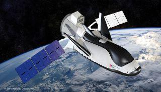 An artist's rendering of Dream Chaser in orbit.