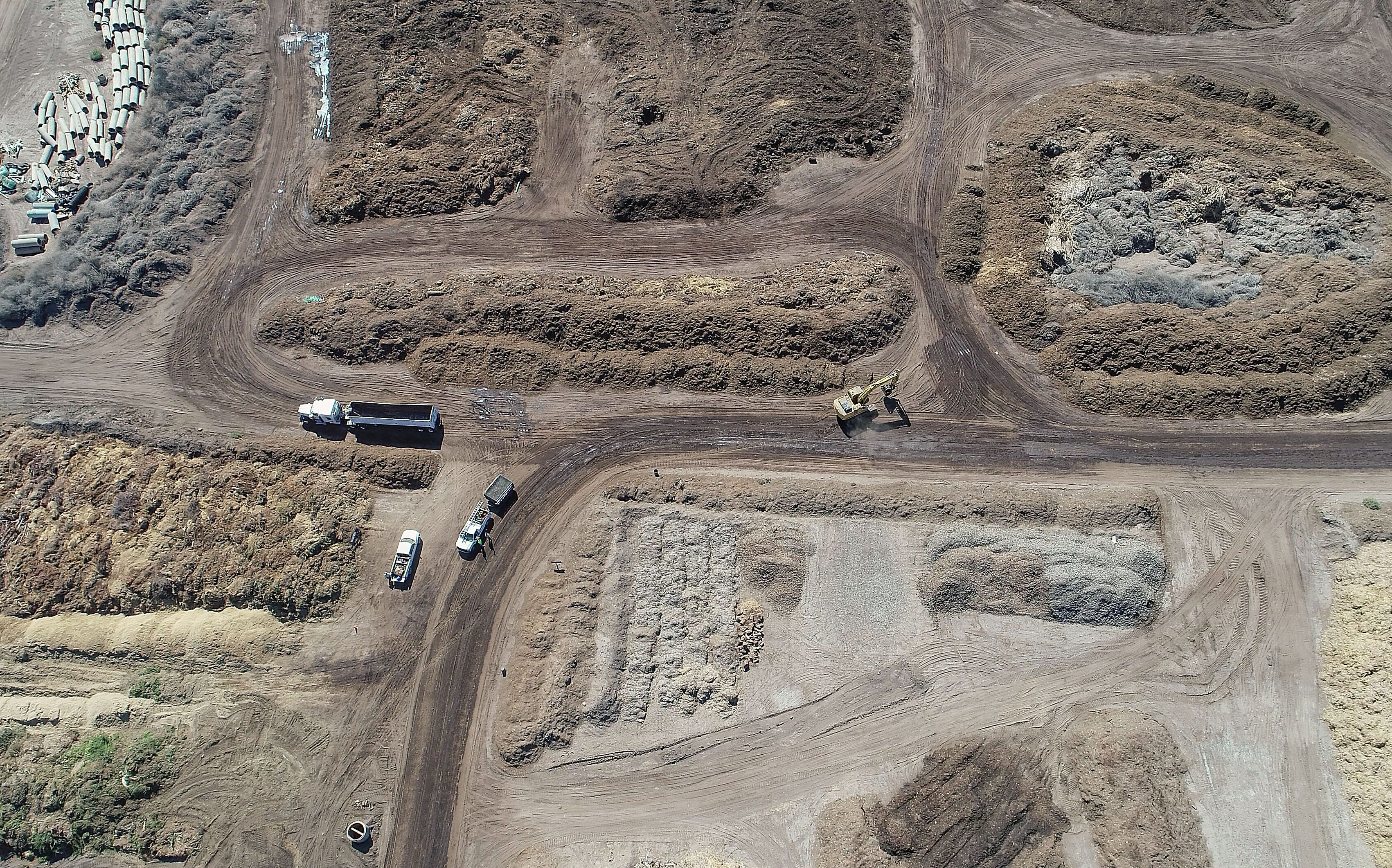 Green waste is sorted and piled at the Sun Valley Recycling and Soil Amendment Co. on the Torres Martinez Reservation in Thermal, Calif. in this aerial drone photograph, October 9, 2019.