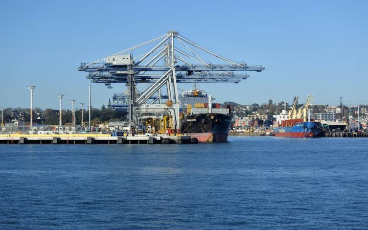 AUCKLAND - JULY 12 2018:Freight ship in Ports of Auckland. its New Zealands largest commercial port handling more than NZ$20 billion of goods per year