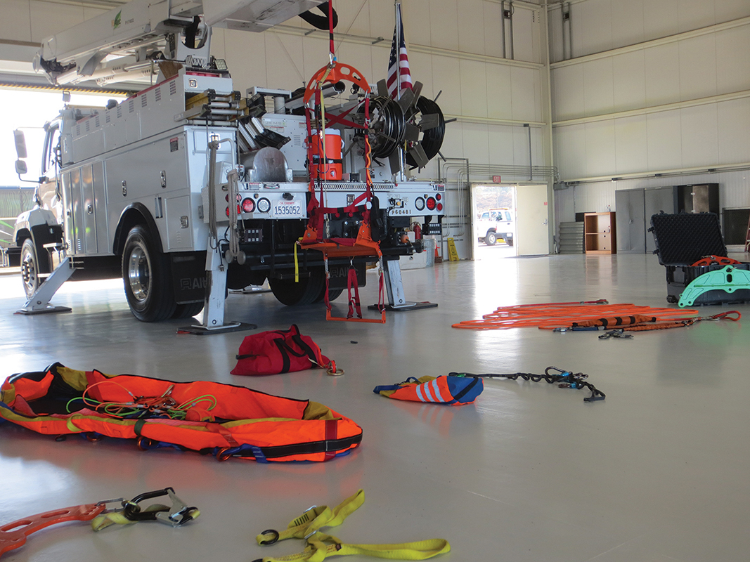 Rescue vests, harnesses, Air Chairs and specialized ropes.