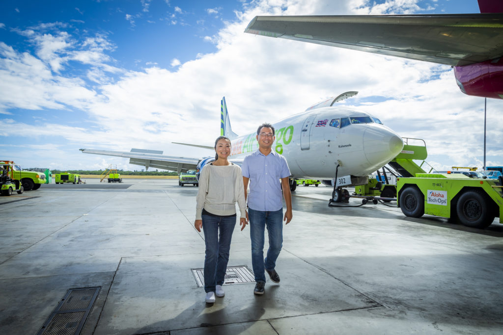 Married couple Lan, left, and Ko are both cargo pilots for Northern Air Cargo.