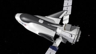 An artist's rendering of Dream Chaser with its cargo module.