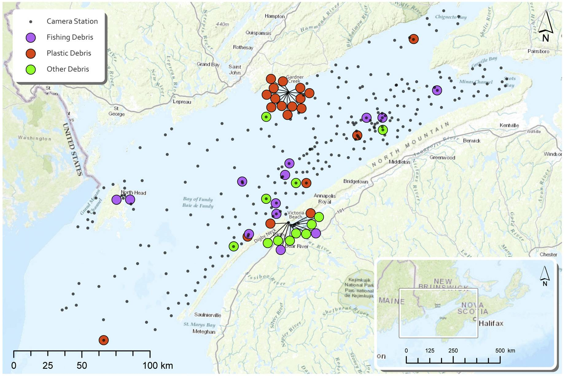 A distribution map shows hotspots of pollution on the bottom of the Bay of Fundy. (Applied Oceans Research Group at the Nova Scotia Community College and Fisheries and Oceans Canada)
