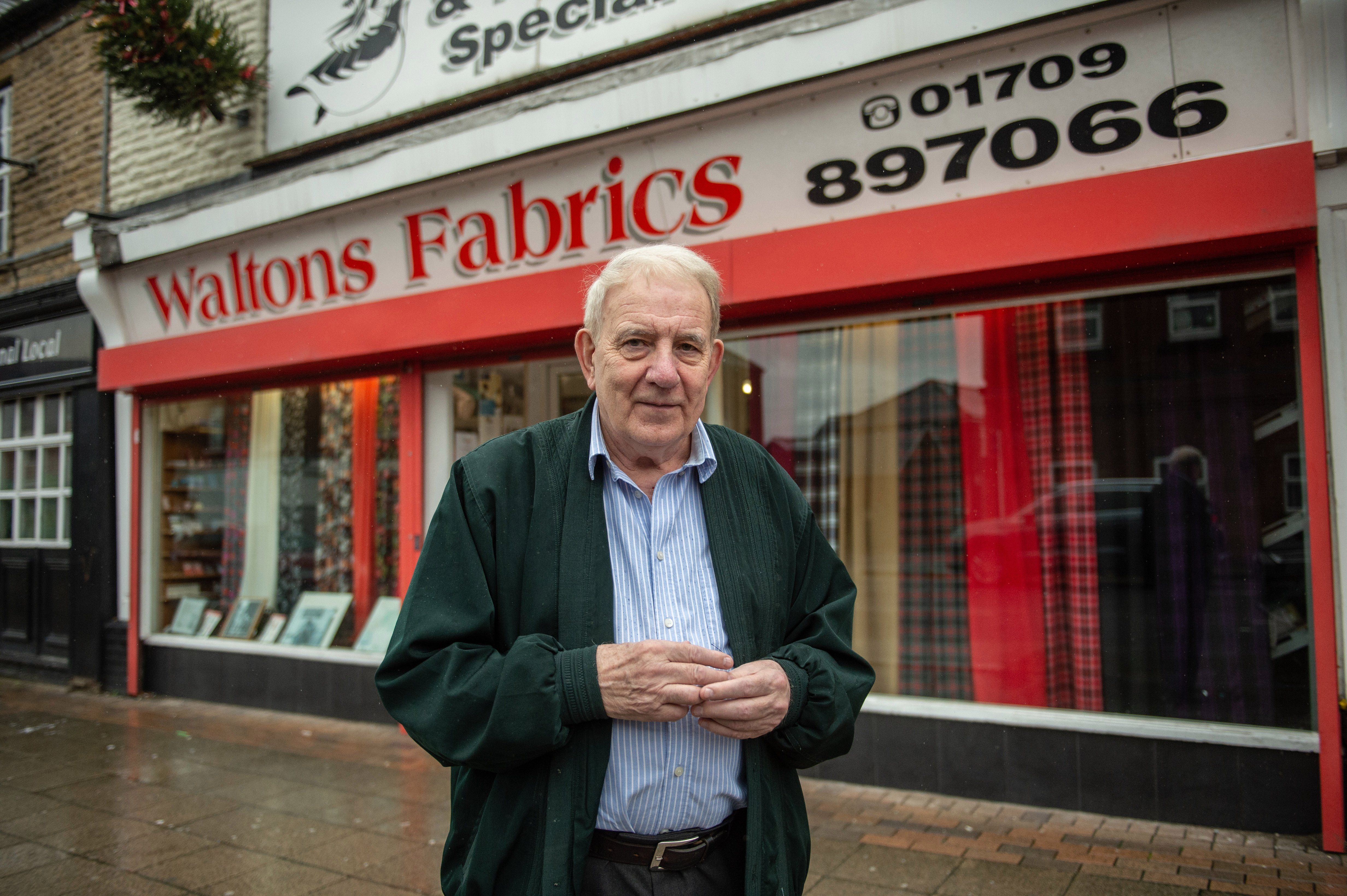 Keith Walton, 79, has been running Waltons Fabrics in Goldthorpe for 50 years and says it is bucking the downward trend by having a 'good name' and keeping prices lower than those found online