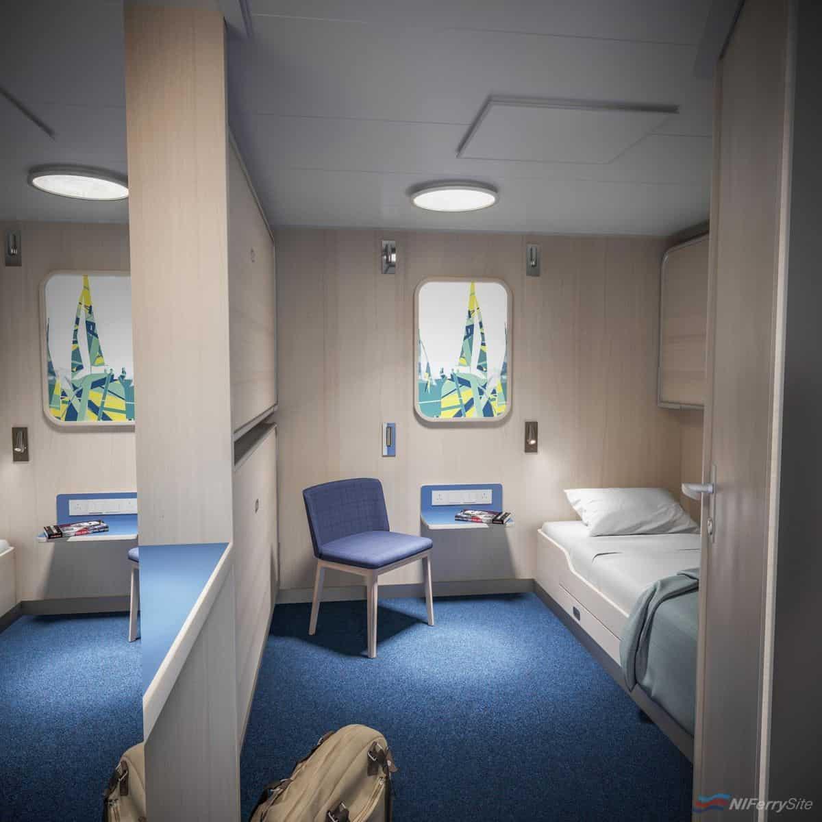 The interior of an inside cabin onboard STENA ESTRID. Stena Line