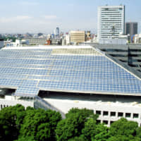 The extraordinary shape of the glassed-in roof of the Canadian Embassy in Tokyo was designed and constructed by Raymond Moriyama's team to meet sunshade regulations that mandate the building, among other requirements, does not cast a shadow on the Akasaka Imperial grounds across the street.