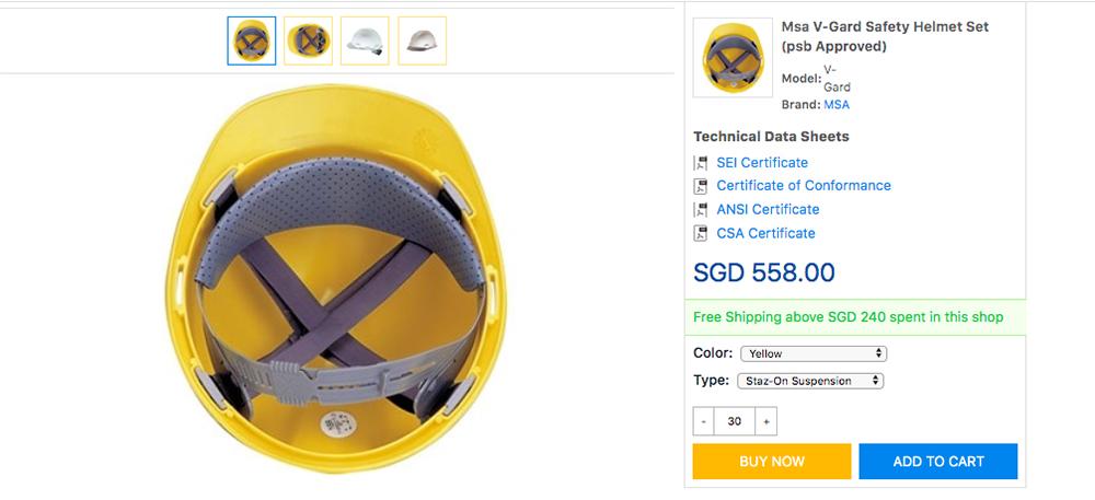 Safety helmet on Eezee.sg procurement website