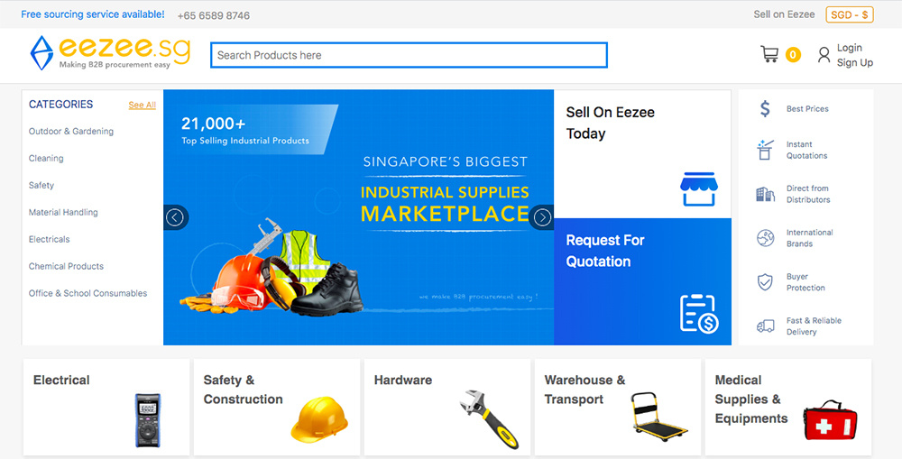Eezee.sg online procurement marketplace for businesses in Singapore