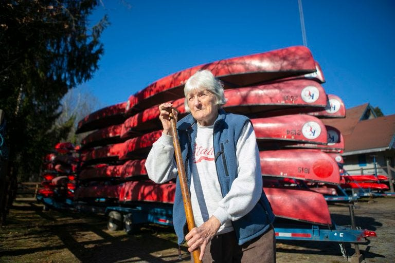 Ruth Jones poses for a picture at Kittatinny Canoes, the business she has owned for many years near the Delaware River in Barryville, N.Y.