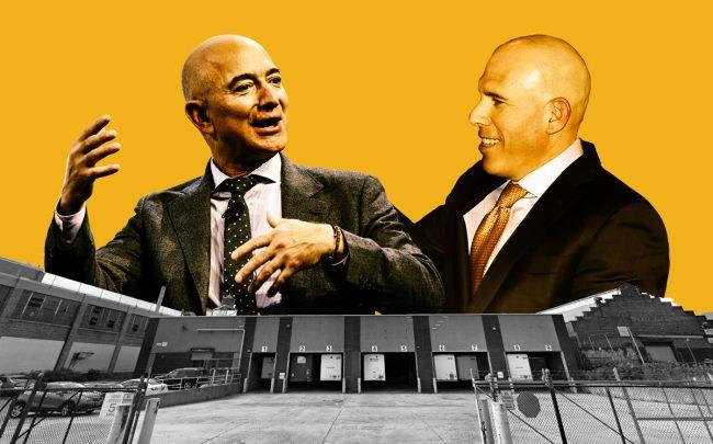 Amazon CEO Jeff Bezos and RXR CEO Scott Rechler with 56-19 Grand Avenue in Queens (Credit: Getty Images, Google Maps)