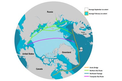 A map of the polar shipping routes also shows the average ice extent from 1981-2010. Photo credit: Rodrigue, J-P (2017), The Geography of Transport Systems, Fourth Edition, New York: Routledge