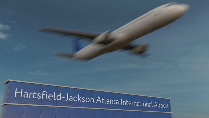Commercial airplane taking off at Hartsfield-Jackson Atlanta International Airport Editorial 3D rendering