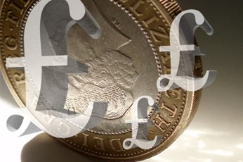 Pound signs over coin