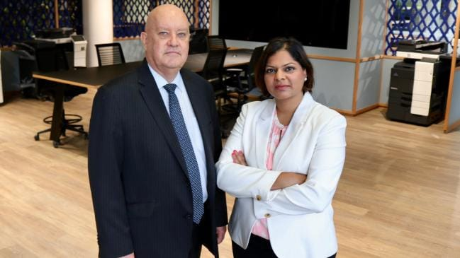 Konica Minolta Australia managing director David Cooke with the firm's ethical sourcing manager Nicole D'Souza. Picture: Supplied