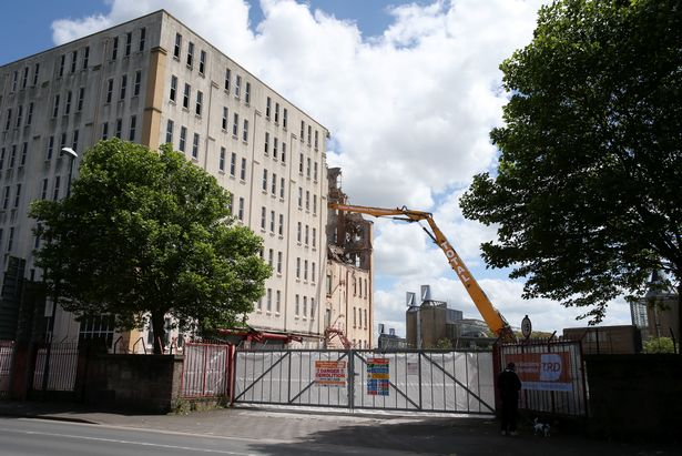 A picture of work taking place to demolish the Imperial Tobacco building in Triumph Road.