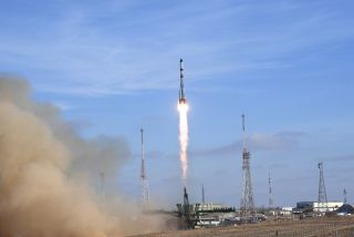 A Russian Soyuz rocket launches a robotic Progress 74 cargo spacecraft toward the International Space Station from Baikonur Cosmodrome in Kazakhstan on Dec. 6, 2019.