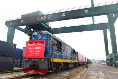A freight train of China Railway Express running from Changsha to Tehran is pictured before departing from the north Changsha station in Changsha city, central China's Hunan province, 28 December 2017 (Photo: Reuters/Zi Xin).