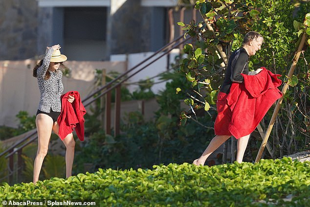 Maintaining the tradition: The couple spend time in the idyllic island every year after Christmas