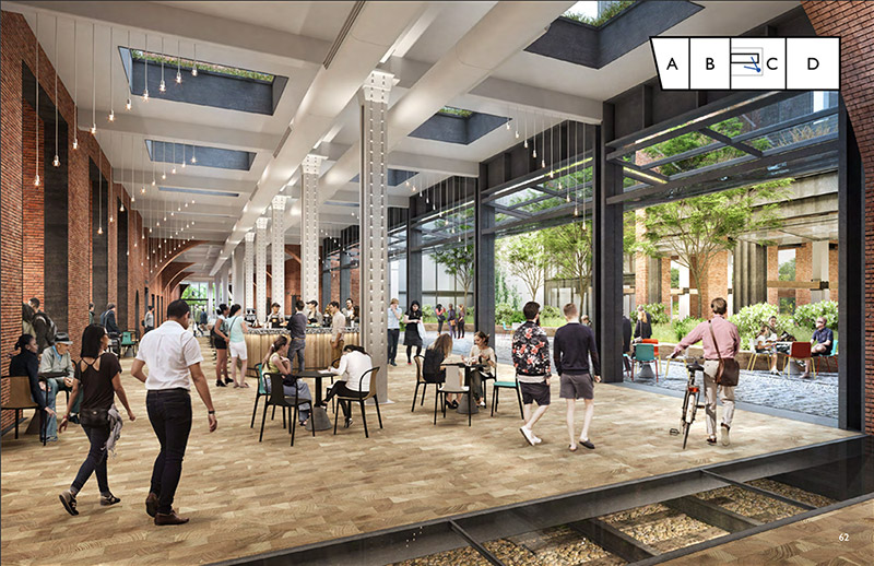 Revised rendering of Central Stores courtyard - COOKFOX