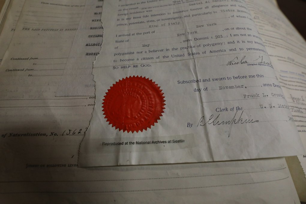 This is a proof of naturalization stored in the National Archives on Sand Point Way. (National Archives at Seattle)