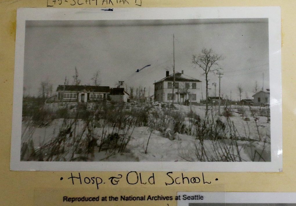 Photograph of the old hospital and school in Akiak, Alaska, about a century ago. (National Archives at Seattle)
