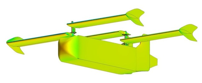 Yates Electrospace Corporation engineers used extensive computational fluid dynamics (CFD) analysis to optimize glide ratio and standoff distance for the new wide-body GD-2000 platform.