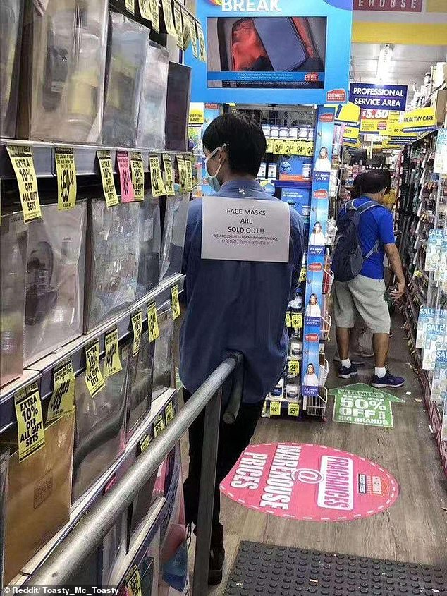 A Chemist Warehouse branch has sold out of face masks as the first confirmed cases of coronavirus were reported in Australia