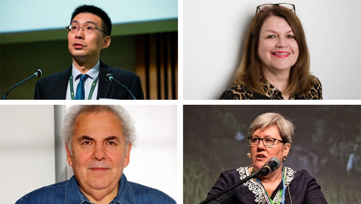 Clockwise from top left: Professor James Yu, Barbara Vest, Professor Philip Jones and Rachel Kyte are among the green economy figures on this year's New Year honour list