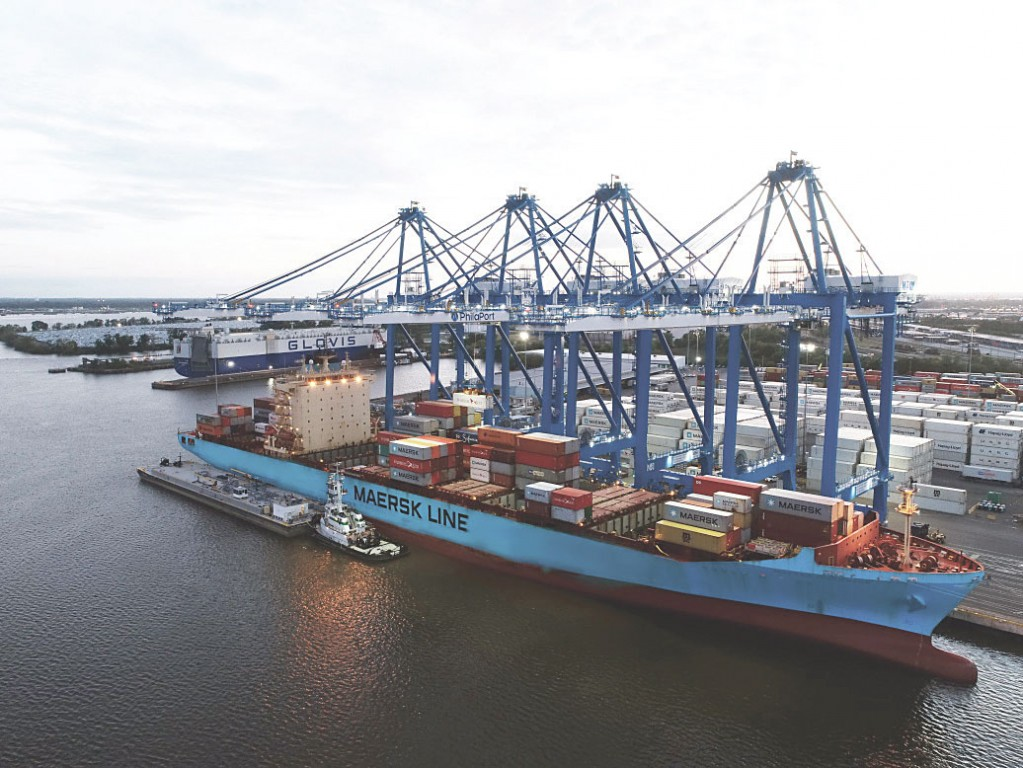 Four post-Panamax cranes team to work a Maersk Line vessel at PhilaPort's Packer Avenue Marine Terminal, the port's primary container-handling facility.