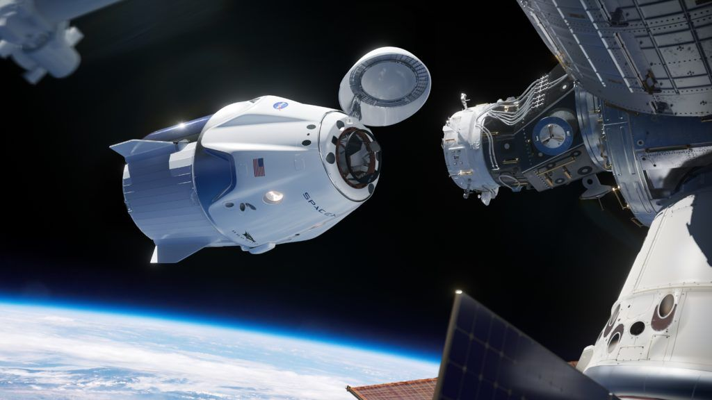 An illustration of the SpaceX Dragon docking with the International Space Station. Image Credit: SpaceX