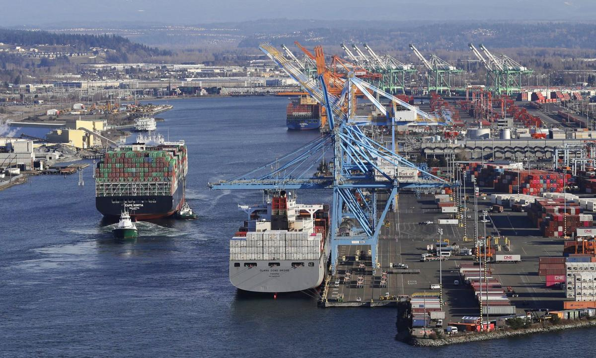 Ships loaded with containers at Port of Tacoma