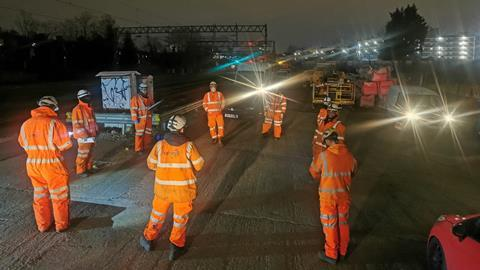 Workers social distancing at Primrose Hill tunnel