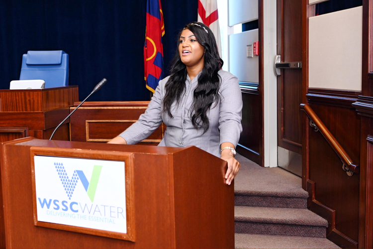 Rose Celestin speaks at a WSSC Water event.