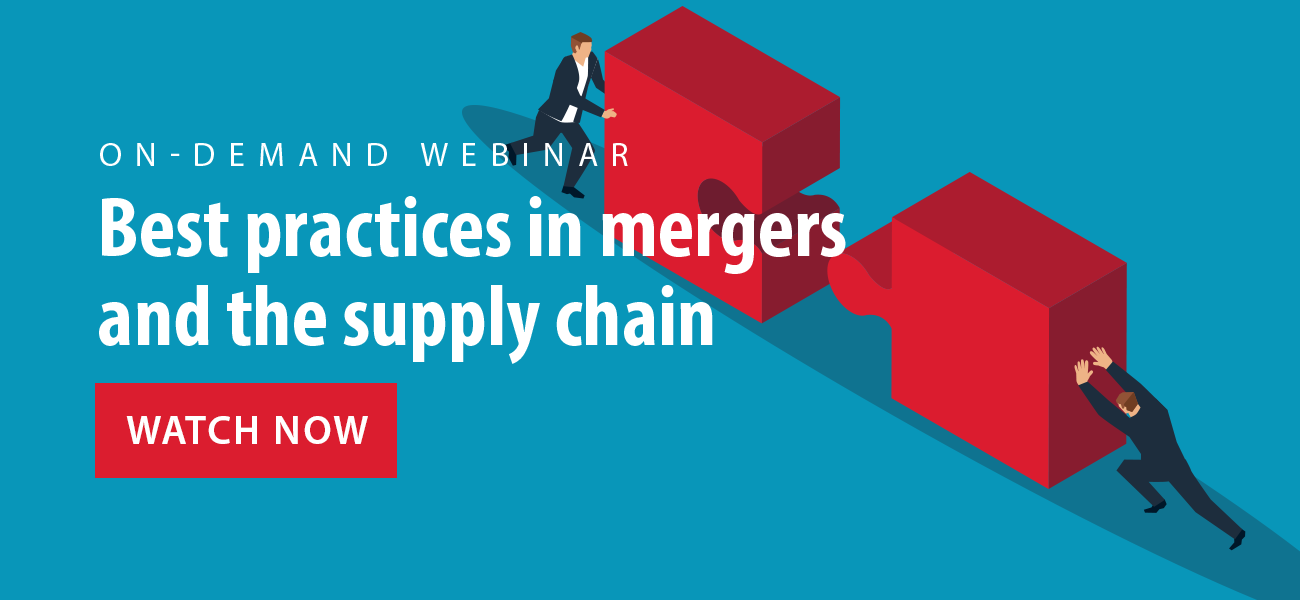 """Watch the on-demand webinar """"Best practices in mergers and the supply chain"""""""