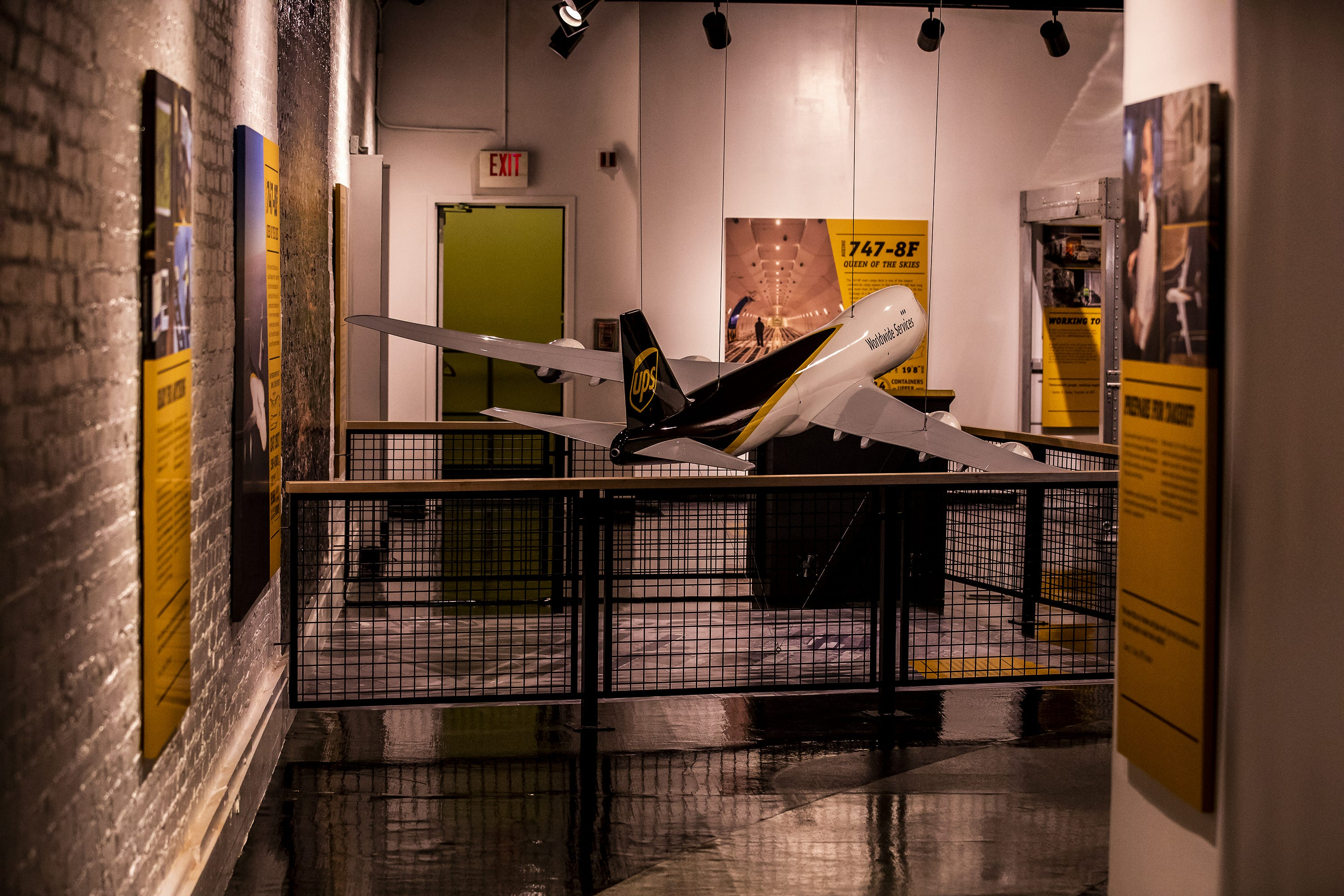 The new 'One World by Air Cargo' exhibit at the Kentucky Science Center includes a large model of a UPS 747-8F airplane. Oct. 15, 2020
