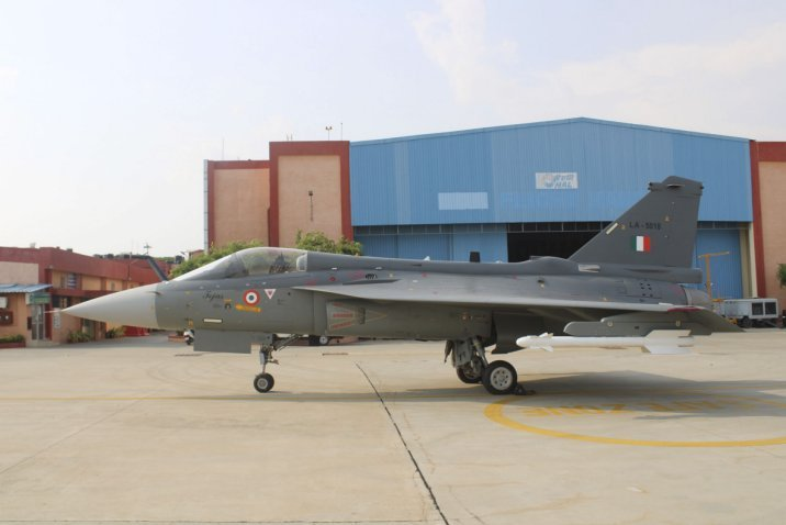 A Tejas LCA Mk 1 fighter configured in final operational clearance during an induction ceremony into the No 18 'Flying Bullets' Squadron in May 2020. India's CCS approved on 13 January the procurement of 73 Mk 1A fighters and 10 Mk 1 dual-seat trainers. (HAL)