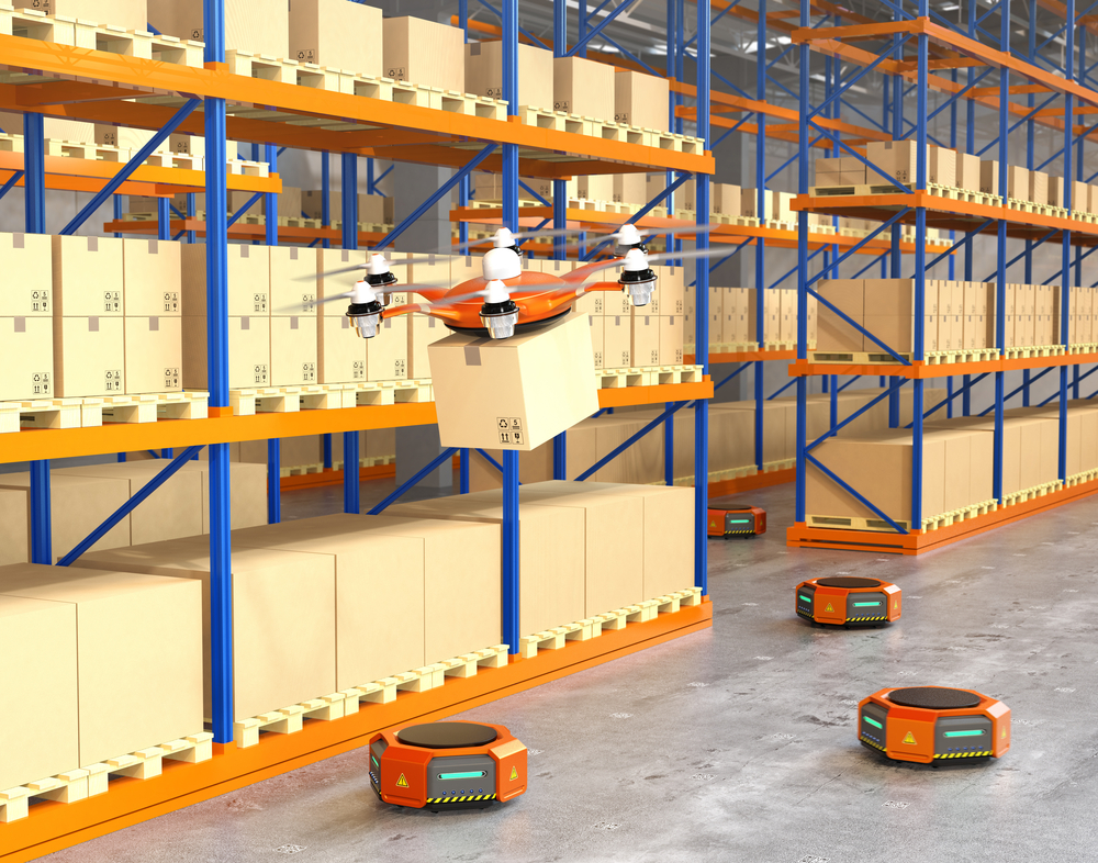 A micro fulfillment center can increase efficiency with robots that pick out items from storage aisles and shuttle them to packing staff